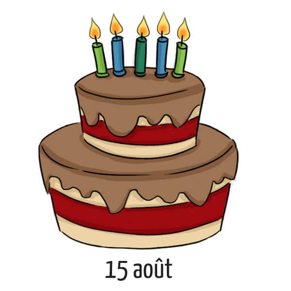 Date d'anniversaire 15 août