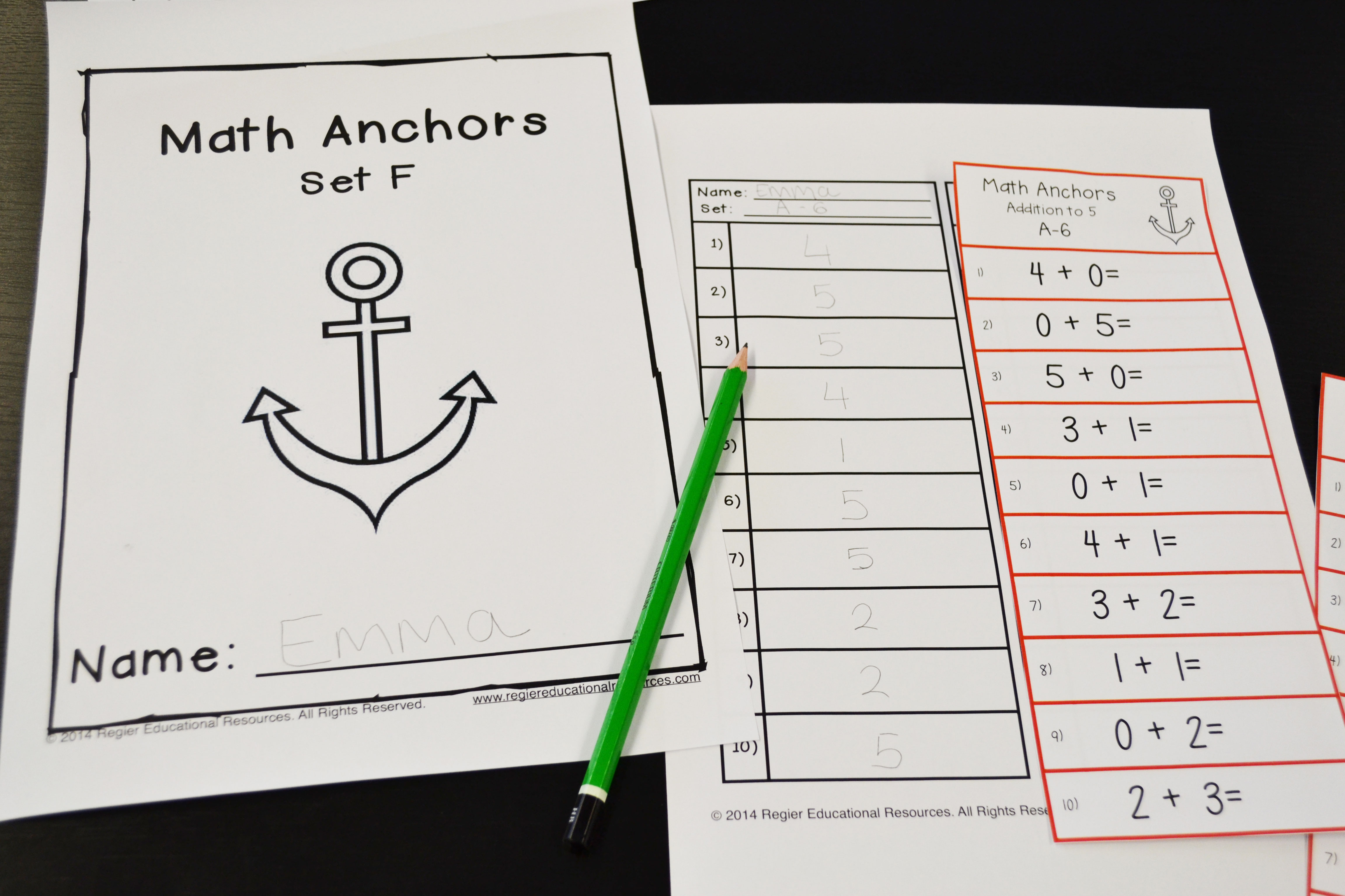What are addition and subtraction math anchors?