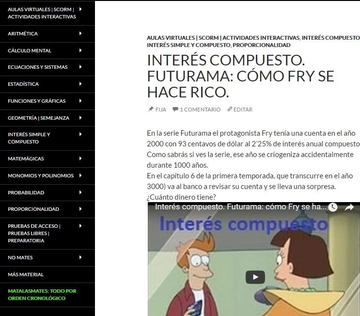¿De qué vas a llenar vuestro blog de clase? A Gabino le gusta colgar problemas para sus alumnos, como este de Futurama.