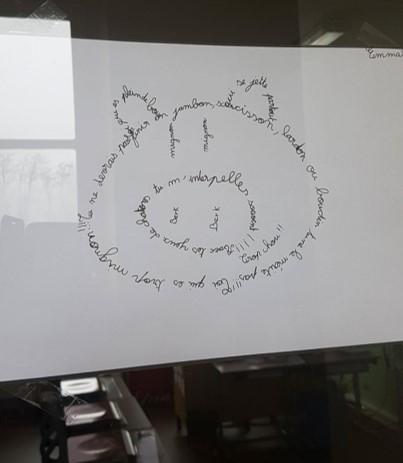Les élèves créent leurs calligrammes en forme de soleil