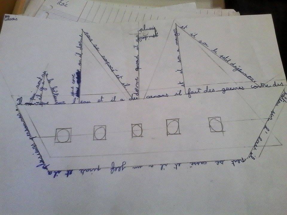 Chaque élève crée son propre calligramme