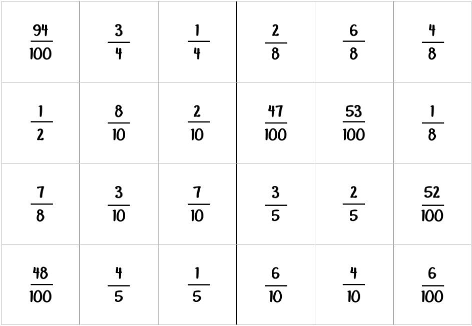Associons 2 fractions égales à 1
