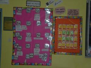 murs de mots dans la classe