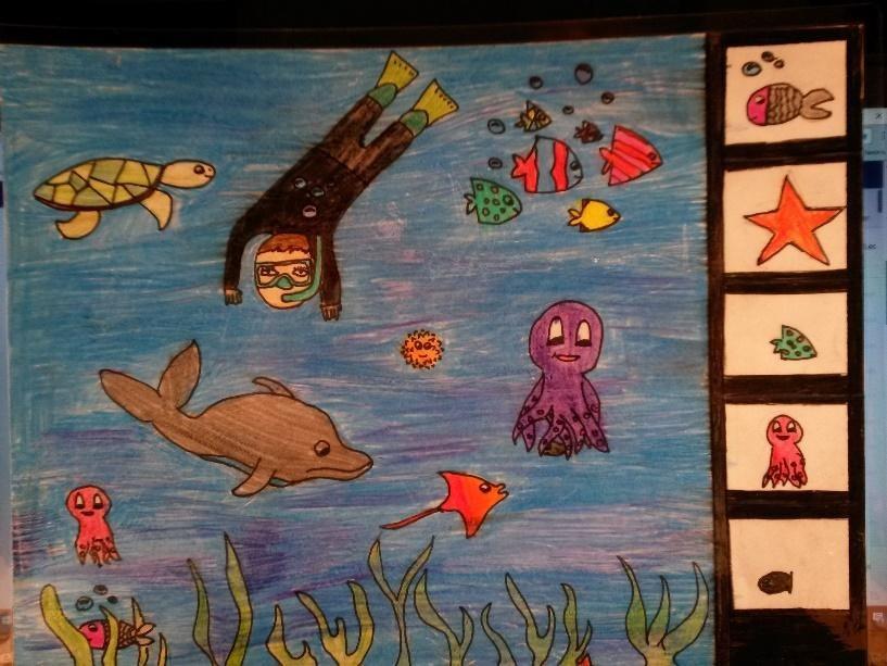 Les élèves choisissent 5 éléments à chercher dans le dessin