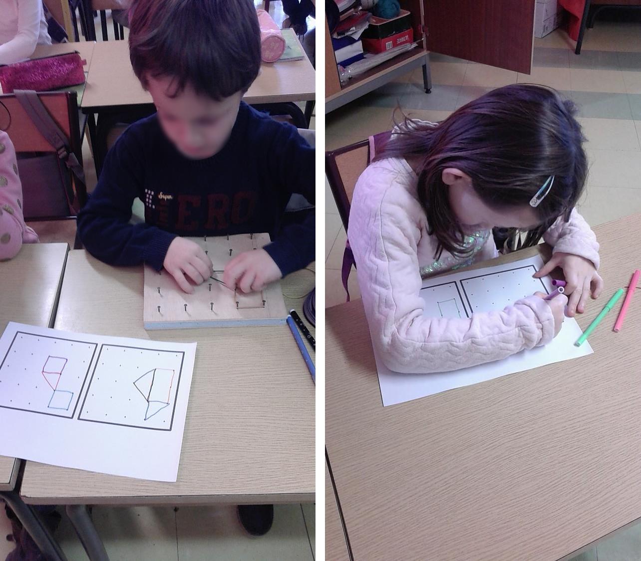 Les élèves reproduisent et dessinent les géoplans
