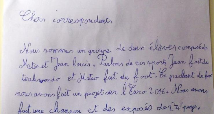 Un exemple de lettre d'élève.