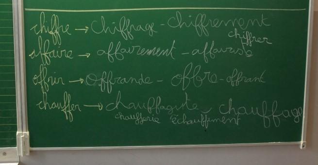 Les élèves cherchent les mots en relation avec « chiffre »