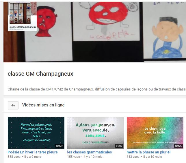 Le compte YouTube de la classe avec les vidéos réalisées par les élèves
