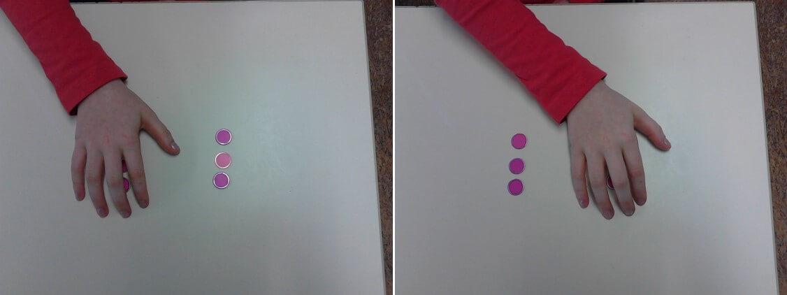 L'élève recouvre le tas avec sa main