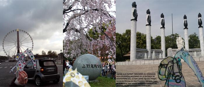 On reçoit des photos de Paris, de Tokyo et du Mexique