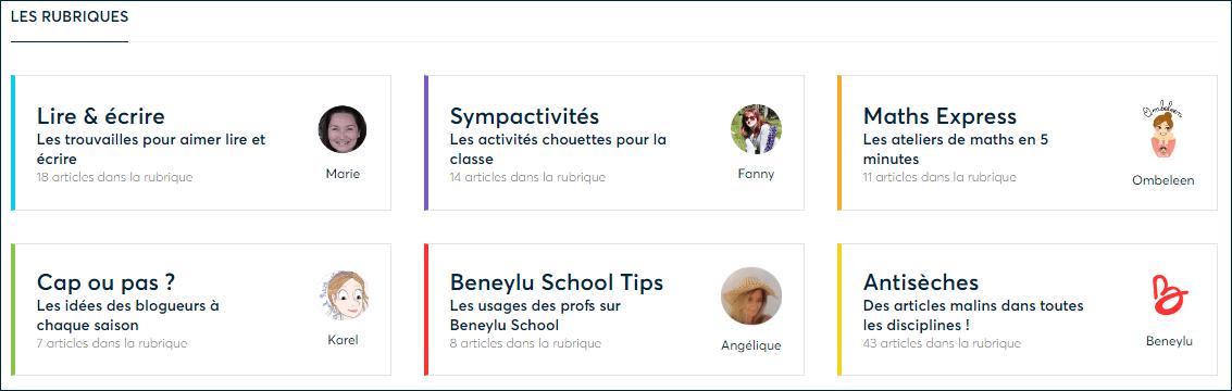 """Les rubriques s'appellent """"Lire & écrire"""", """"Sympactivités"""", """"Maths Express"""", """"Cap ou pas ?"""", """"Beneylu School Tips"""" et """"Antisèches"""""""