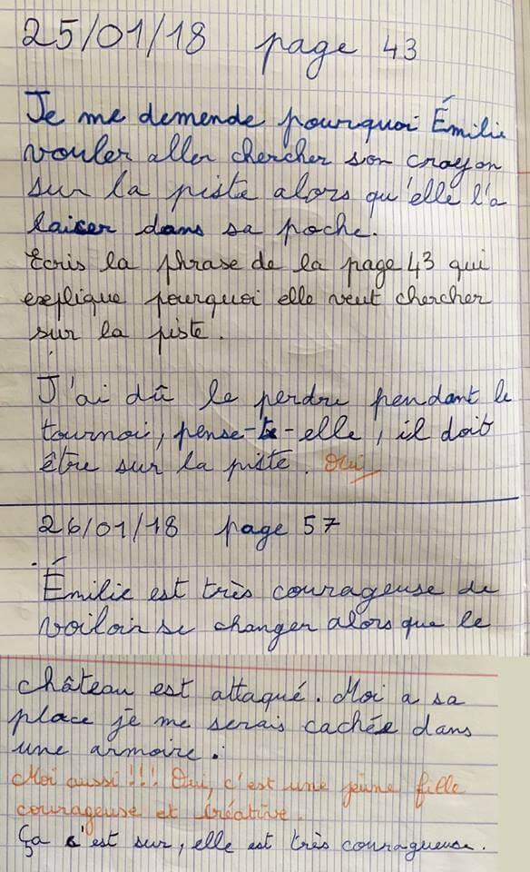 Les élèves écrivent directement leurs réactions dans le journal dialogué.