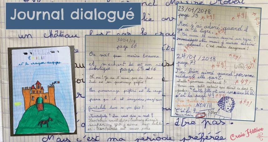 Les élèves écrivent et dessinent leurs réactions dans le journal dialogué.
