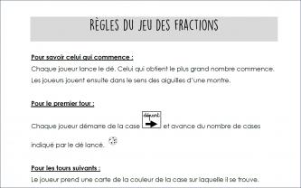 Beneylu -Les règles du jeu de l'oie des fractions